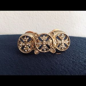 Unique Double Ring with 3 Vertical Circular Pieces